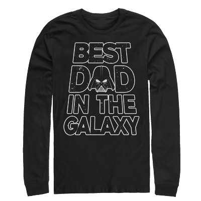 Men's Star Wars Father's Day Best Dad Darth Vader Helmet Long Sleeve Shirt