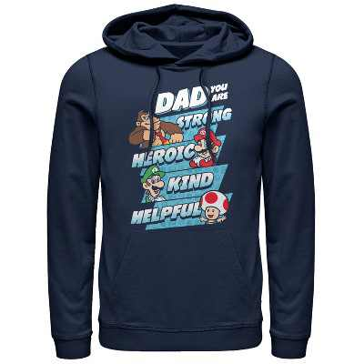 Men's Nintendo Father's Day Mario Dad Qualities Pull Over Hoodie