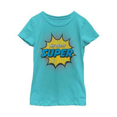 Girl's Lost Gods Father's Day Retro Comic Super Dad T-Shirt