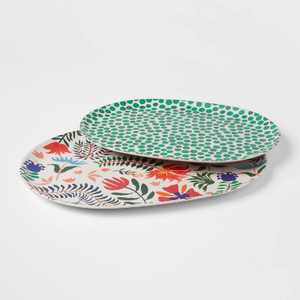 2pc Bamboo Melamine  Floral Serving Platter - Opalhouse