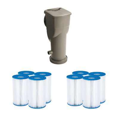 Summer Waves SkimmerPlus 1500 Gallon Above Ground Framed Pool Filter Pump Bundle with 8-Pack Replacement Type A/C Pool and Spa Filter Cartridge