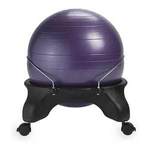 Gaiam Backless Classic Fitness Core Balance Ball Chair with Stable 4 Wheel Base to Improve Posture, Core Strength, and Relieves Pain, Purple
