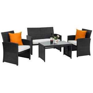 Costway 4PCS Patio Rattan Furniture Conversation Set Cushioned Sofa Coffee Table Black