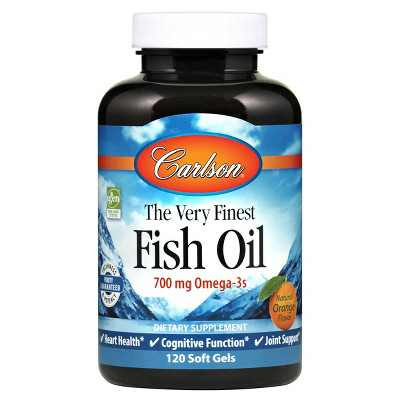 Carlson - The Very Finest Fish Oil, 700 mg Omega-3s, Norwegian, Wild Caught, Sustainably Sourced, Orange