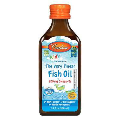 Carlson - Kid's The Very Finest Fish Oil, 800 mg Omega-3s, Norwegian, Wild Caught, Sustainably Sourced, Orange