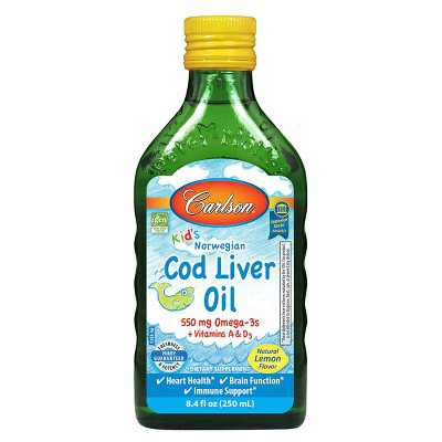 Carlson - Kid's Cod Liver Oil, 550 mg Omega-3s + A & D3, Norwegian, Wild Caught, Sustainably Sourced, Lemon