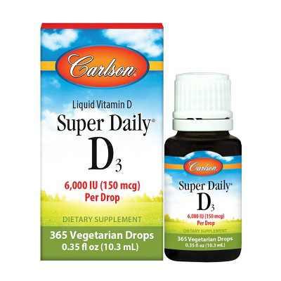 Carlson - Super Daily D3, 6000 IU (150 mcg) per Drop, Vitamin D Drops, Vegetarian, Unflavored