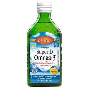 Carlson - Super D Omega-3, 2000 IU (50 mcg) Vitamin D3, 1100 mg Omega-3s, Norwegian, Wild Caught, Lemon