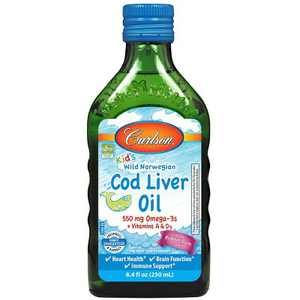 Carlson - Kid's Cod Liver Oil, 550 mg Omega-3s + A & D3, Norwegian, Wild Caught, Sustainably Sourced, Bubble Gum