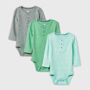 Baby Boys' 3pk Henley Long Sleeve Basic Bodysuit - Cloud Island Green/Gray