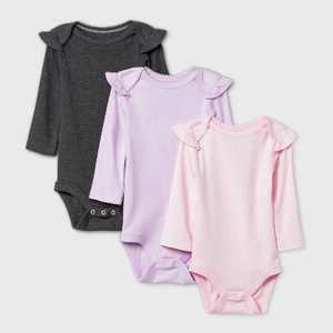 Baby Girls' 3pk Ruffle Long Sleeve Basic Bodysuit - Cloud Island Purple/Pink/Gray