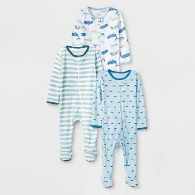 Baby Boys' 3pk Sleepy Tides Zip-Up Sleep N' Play - Cloud Island Blue/Green/White