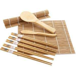 Dartwood Bamboo Sushi Making Kit with Rolling Mat, Chopsticks, Paddle, and Spreader