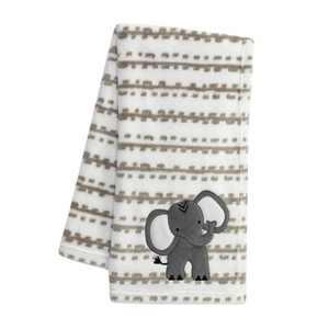 Lambs & Ivy Jungle Safari White/Tan Plush Minky Elephant Nursery Baby Blanket