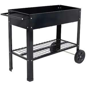 """Sunnydaze Outdoor Galvanized Steel Raised Garden Bed Cart with Handlebar and Wheels for Patio, Deck or Yard - 41"""" L - Black"""