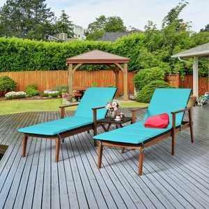 Costway 3PCS Patio Rattan Lounge Chair Folding Table Set Chaise Wood Cushioned White\Turquoise
