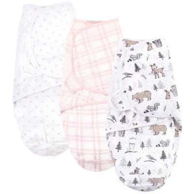 Hudson Baby Infant Girl Quilted Cotton Swaddle Wrap 3pk, Winter Forest, 0-3 Months