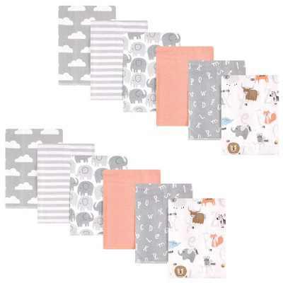 Hudson Baby Unisex Baby Cotton Flannel Burp Cloths Bundle, Alphabet, One Size