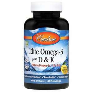 Carlson - Elite Omega-3 Plus D & K, 700 mg Omega-3s + D3 & K2, Bone Health, Lemon