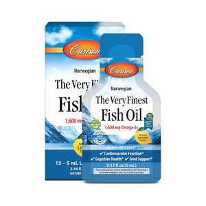 Carlson - The Very Finest Fish Oil Grab + Go Packets, Single-Serving, 1600 mg Omega-3s, Norwegian, Lemon