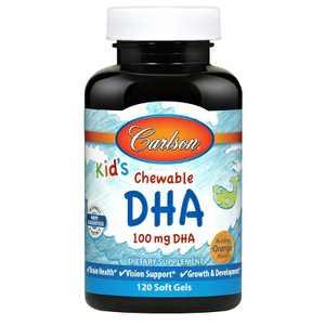 Carlson - Kid's Chewable DHA, 100 mg DHA, Brain Health, Vision Function, Orange