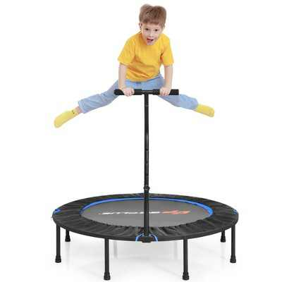 Goplus 47'' Folding Trampoline Fitness Exercise Rebound W/Handle for Kids&Adults