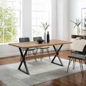 """71"""" Venna Industrial Farmhouse X Leg Trestle Dining Table Reclaimed Barnwood - Saracina Home"""