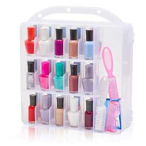 Glamlily Clear Nail Polish Organizer Case, Storage Holder for 30 Bottles and Tools (11.8 x 11.2 x 3.15 In)