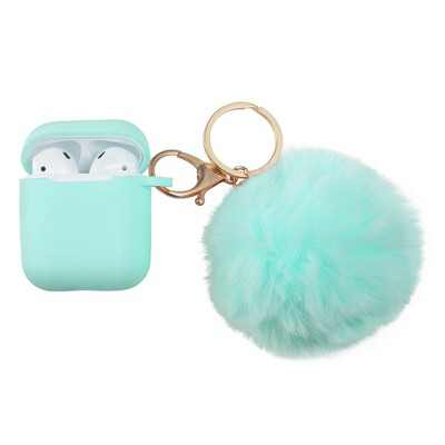 Insten Cute Case Compatible with Apple AirPods 1 & 2 - Cute Fluffy Pom Pom Protective AirPod Silicone Cover Cases with Keychain, Green