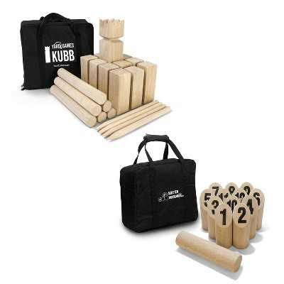 YardGames Kubb Premium Wooden Game Set with Storage Bag Bundle with Yard Games Burned Hardwood Outdoor Scatter Toss Target Lawn Game Skittles Set