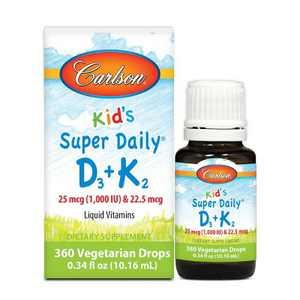 Carlson - Kid's Super Daily D3+K2, 25 mcg (1000 IU) & 22.5 mcg, Liquid Vitamins D & K, Vegetarian, Unflavored