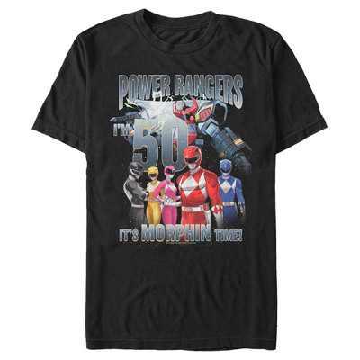 Fifth Sun Mens Power Rangers Slim Fit Short Sleeve Crew Graphic Tee - Black Small