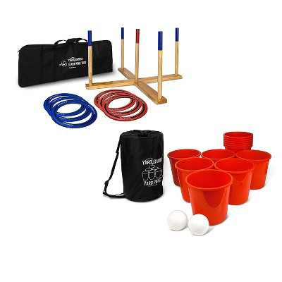 Yard Games Giant Wooden Ring Toss Lawn Game w/ Soft Touch Throwing Rings Bundle w/ Giant Outdoor Yard Pong Party Set w/ 12 Buckets & 2 Balls
