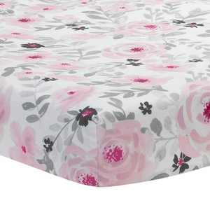 Bedtime Originals Blossom Fitted Mini Crib Sheet - Pink, Gray, White, Floral