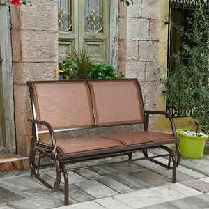 Gymax Steel Outdoor Glider Bench - Brown