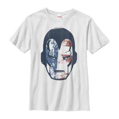 Boy's Marvel Fourth of July  Iron Man American Flag Mask T-Shirt