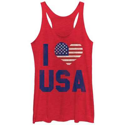 Women's Lost Gods Fourth of July  I Heart USA Racerback Tank Top
