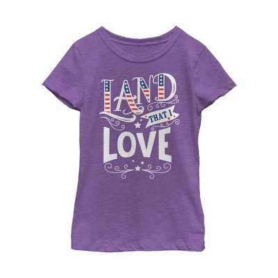 Girl's Lost Gods Fourth of July  America Love Land T-Shirt