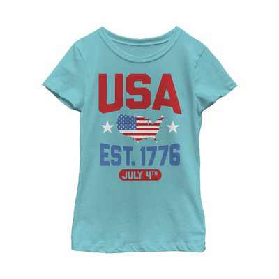 Girl's Lost Gods Fourth of July  USA Est. 1776 T-Shirt