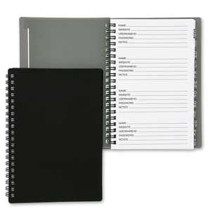 2 Pack Internet Address and Password Keeper Book with Alphabetical Tabs (Black, 6x7 in)