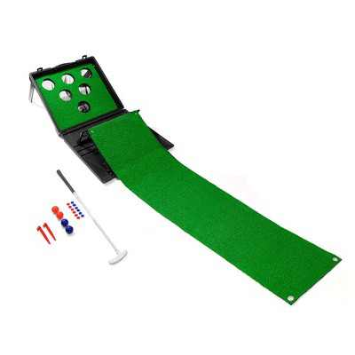 YardGames 20 x 22 Foot Putter Pong and Golf Mat Indoor Outdoor Backyard Lawn Multi Player Family Game for Kids and Adults, Green