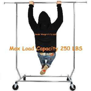 250 lbs Heavy Duty Clothing Garment Rack Commercial Rolling Clothes Rack on Wheels Adjustable Collapsible, Chrome Finish