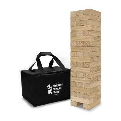 YardGames On the Go Large Junior Tumbling Timbers Wood Tower Stacking Indoor Outdoor Party Game with 54 Premium Pine Blocks and Nylon Carrying Case
