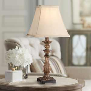 """Regency Hill Cottage Accent Table Lamp 18"""" High Antique Distressed Light Bronze Square Shade for Bedroom Bedside Nightstand"""
