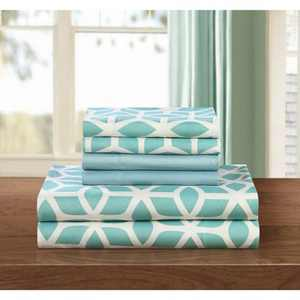 Chic Home Bailee 6 Piece Sheet Set Super Soft Geometric Pattern Print Deep Pocket Design - Includes Flat & Fitted Sheets and Bonus Pillowcases, Green King