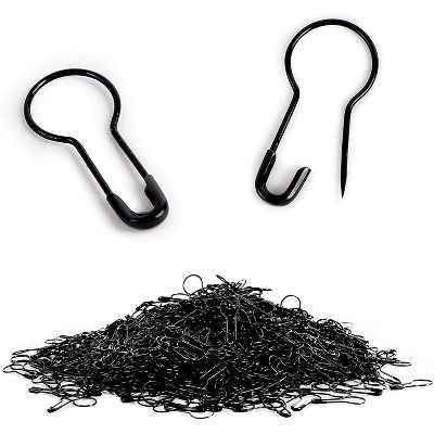 Bright Creations 1000 Pack Small Black Metal Safety Pins for Clothing (0.87 x 0.38 in)