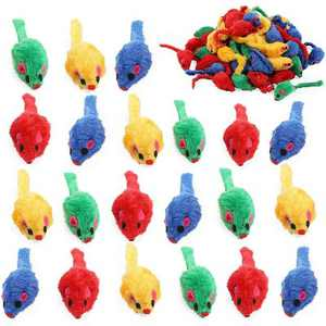 Okuna Outpost 60 Pack Mice Toys for Cat, Colorful Mouse Rattles for Pets, 4 Colors (2 x 0.7 in)