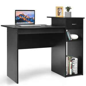Costway Computer Desk PC Laptop Table w/ Drawer and Shelf Home Office Black