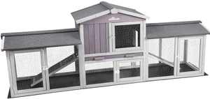 Aivituvin 87.8'' Wood Rabbit Cage Outdoor Bunny Hutch Indoor for 2 Rabbits with PVC Layer
