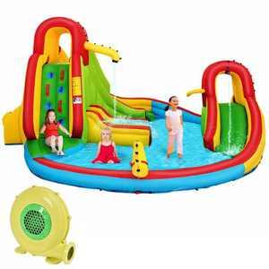 Kids Inflatable Water Slide Bounce Park Splash Pool w/Water Cannon & 480W Blower